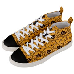 Pattern Pumpkin Spider Vintage Halloween Gothic Orange And Black Men s Mid Top Canvas Sneakers by MAGA
