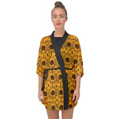 Pattern Pumpkin Spider Vintage Halloween Gothic Orange And Black Half Sleeve Chiffon Kimono