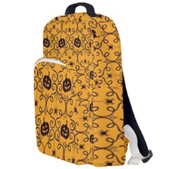 Pattern Pumpkin Spider Vintage Halloween Gothic Orange And Black Double Compartment Backpack