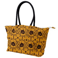 Pattern Pumpkin Spider Vintage Halloween Gothic Orange And Black Canvas Shoulder Bag by genx