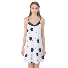 Pattern Skull Stars Handrawn Naive Halloween Gothic Black And White Camis Nightgown