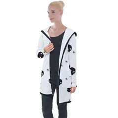 Pattern Skull Stars Handrawn Naive Halloween Gothic Black And White Longline Hooded Cardigan by MAGA