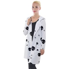 Pattern Skull Stars Handrawn Naive Halloween Gothic Black And White Hooded Pocket Cardigan by snek