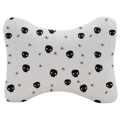 Pattern Skull Stars Handrawn Naive Halloween Gothic Black And White Velour Seat Head Rest Cushion by snek