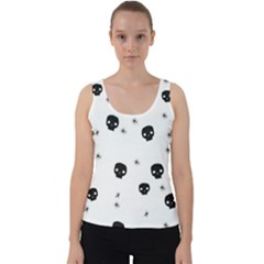 Pattern Skull Stars Handrawn Naive Halloween Gothic Black And White Velvet Tank Top