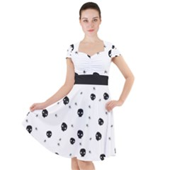 Pattern Skull Stars Handrawn Naive Halloween Gothic Black And White Cap Sleeve Midi Dress by snek