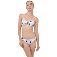 Pattern Skull Stars Handrawn Naive Halloween Gothic Black And White Classic Bandeau Bikini Set by snek