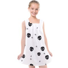 Pattern Skull Stars Handrawn Naive Halloween Gothic Black And White Kids  Cross Back Dress by genx