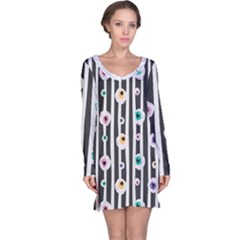 Pattern Eyeball Black And White Naive Stripes Gothic Halloween Long Sleeve Nightdress
