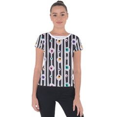 Pattern Eyeball Black And White Naive Stripes Gothic Halloween Short Sleeve Sports Top