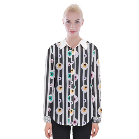 Pattern Eyeball Black And White Naive Stripes Gothic Halloween Womens Long Sleeve Shirt by genx