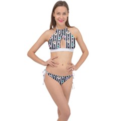 Pattern Eyeball Black And White Naive Stripes Gothic Halloween Cross Front Halter Bikini Set by genx