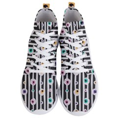 Pattern Eyeball Black And White Naive Stripes Gothic Halloween Men s Lightweight High Top Sneakers by snek