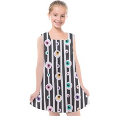 Pattern Eyeball Black And White Naive Stripes Gothic Halloween Kids  Cross Back Dress by genx