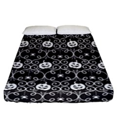 Pattern Pumpkin Spider Vintage Gothic Halloween Black And White Fitted Sheet (queen Size)