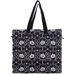Pattern Pumpkin Spider Vintage Gothic Halloween Black And White Canvas Travel Bag by snek