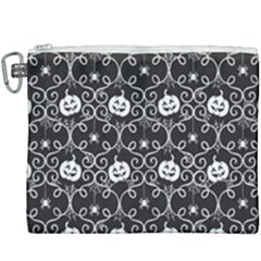 Pattern Pumpkin Spider Vintage Gothic Halloween Black And White Canvas Cosmetic Bag (xxxl)