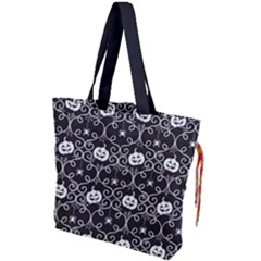 Pattern Pumpkin Spider Vintage Gothic Halloween Black And White Drawstring Tote Bag by snek