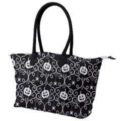 Pattern Pumpkin Spider Vintage Gothic Halloween Black And White Canvas Shoulder Bag