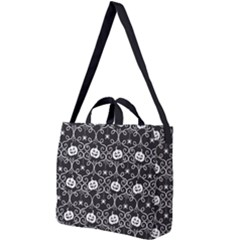 Pattern Pumpkin Spider Vintage Gothic Halloween Black And White Square Shoulder Tote Bag