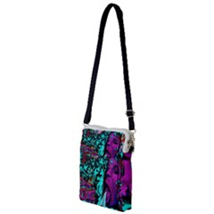 Graffiti Woman And Monsters Turquoise Cyan And Purple Bright Urban Art With Stars Multi Function Travel Bag by MAGA