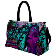 Graffiti Woman And Monsters Turquoise Cyan And Purple Bright Urban Art With Stars Duffel Travel Bag