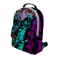 Graffiti Woman And Monsters Turquoise Cyan And Purple Bright Urban Art With Stars Flap Pocket Backpack (large)