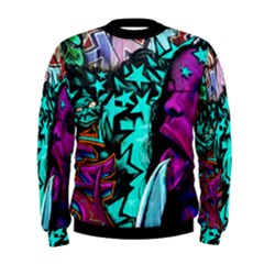 Graffiti Woman And Monsters Turquoise Cyan And Purple Bright Urban Art With Stars Men s Sweatshirt