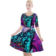 Graffiti Woman And Monsters Turquoise Cyan And Purple Bright Urban Art With Stars Quarter Sleeve A Line Dress