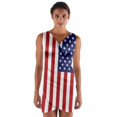 Us Flag Stars And Stripes Maga Wrap Front Bodycon Dress