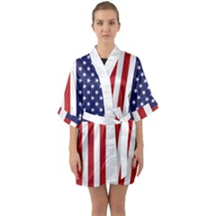Us Flag Stars And Stripes Maga Quarter Sleeve Kimono Robe