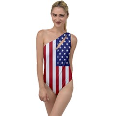 Us Flag Stars And Stripes Maga To One Side Swimsuit by snek