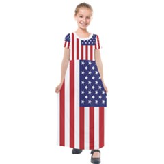 Us Flag Stars And Stripes Maga Kids  Short Sleeve Maxi Dress by snek