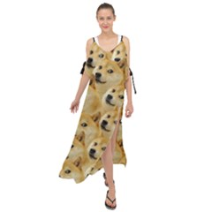 Doge Meme Doggo Kekistan Funny Pattern Maxi Chiffon Cover Up Dress by MAGA