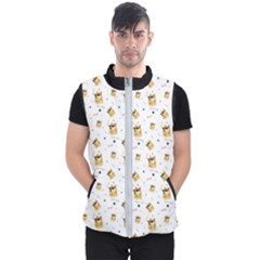 Doge Much Thug Wow Pattern Funny Kekistan Meme Dog White Men s Puffer Vest