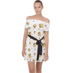 Doge Much Thug Wow Pattern Funny Kekistan Meme Dog White Off Shoulder Chiffon Dress by snek