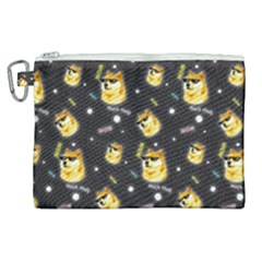Doge Much Thug Wow Pattern Funny Kekistan Meme Dog Black Background Canvas Cosmetic Bag (xl)