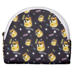 Doge Much Thug Wow Pattern Funny Kekistan Meme Dog Black Background Horseshoe Style Canvas Pouch by MAGA