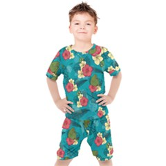 Apu Apustaja And Groyper Pepe The Frog Frens Hawaiian Shirt With Red Hibiscus On Green Background From Kekistan Kids  Tee And Shorts Set by snek