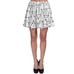 Funny Cat Pattern Organic Style Minimalist On White Background Skater Skirt