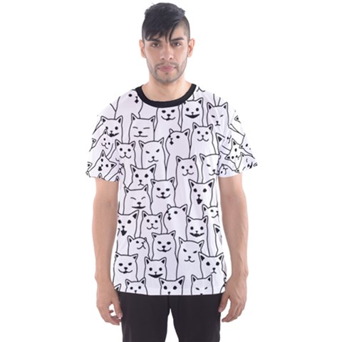 Funny Cat Pattern Organic Style Minimalist On White Background Men s Sports Mesh Tee by genx
