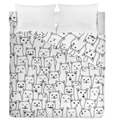 Funny Cat Pattern Organic Style Minimalist On White Background Duvet Cover Double Side (queen Size) by genx