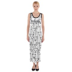 Funny Cat Pattern Organic Style Minimalist On White Background Fitted Maxi Dress