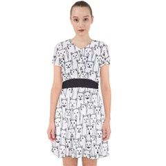 Funny Cat Pattern Organic Style Minimalist On White Background Adorable In Chiffon Dress