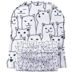 Funny Cat Pattern Organic Style Minimalist On White Background Giant Full Print Backpack