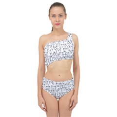 Funny Cat Pattern Organic Style Minimalist On White Background Spliced Up Two Piece Swimsuit by genx