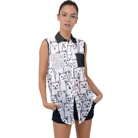 Funny Cat Pattern Organic Style Minimalist On White Background Sleeveless Chiffon Button Shirt by genx