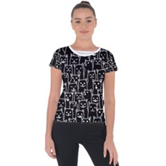 Funny Cat Pattern Organic Style Minimalist On Black Background Short Sleeve Sports Top  by genx