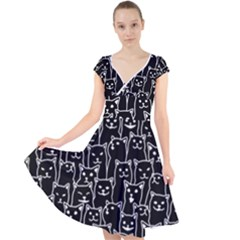 Funny Cat Pattern Organic Style Minimalist On Black Background Cap Sleeve Front Wrap Midi Dress