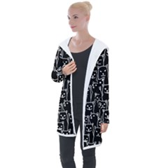 Funny Cat Pattern Organic Style Minimalist On Black Background Longline Hooded Cardigan by genx